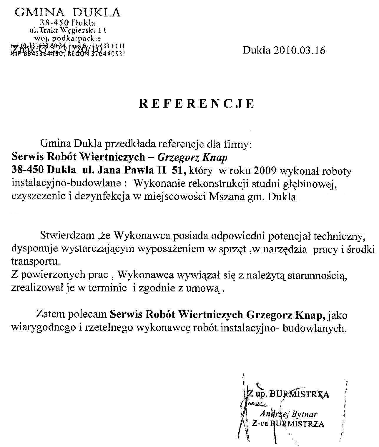 Referencje dla Serwis Robót Wiertnicznych miejscowość Mszana gm.Dukla